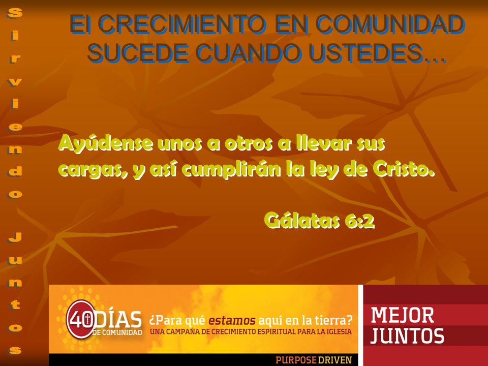 Ayúdense unos a otros a llevar sus cargas, y así cumplirán la ley de Cristo. Gálatas 6:2 Ayúdense unos a otros a llevar sus cargas, y así cumplirán la