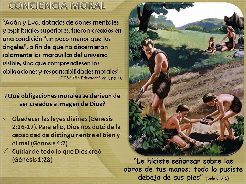 Adán y Eva, dotados de dones mentales y espirituales superiores, fueron creados en una condición un poco menor que los ángeles, a fin de que no discer