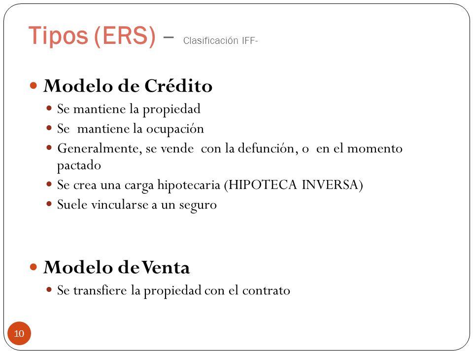 Tipos (ERS) – Clasificación IFF- 10 Modelo de Crédito Se mantiene la propiedad Se mantiene la ocupación Generalmente, se vende con la defunción, o en el momento pactado Se crea una carga hipotecaria (HIPOTECA INVERSA) Suele vincularse a un seguro Modelo de Venta Se transfiere la propiedad con el contrato