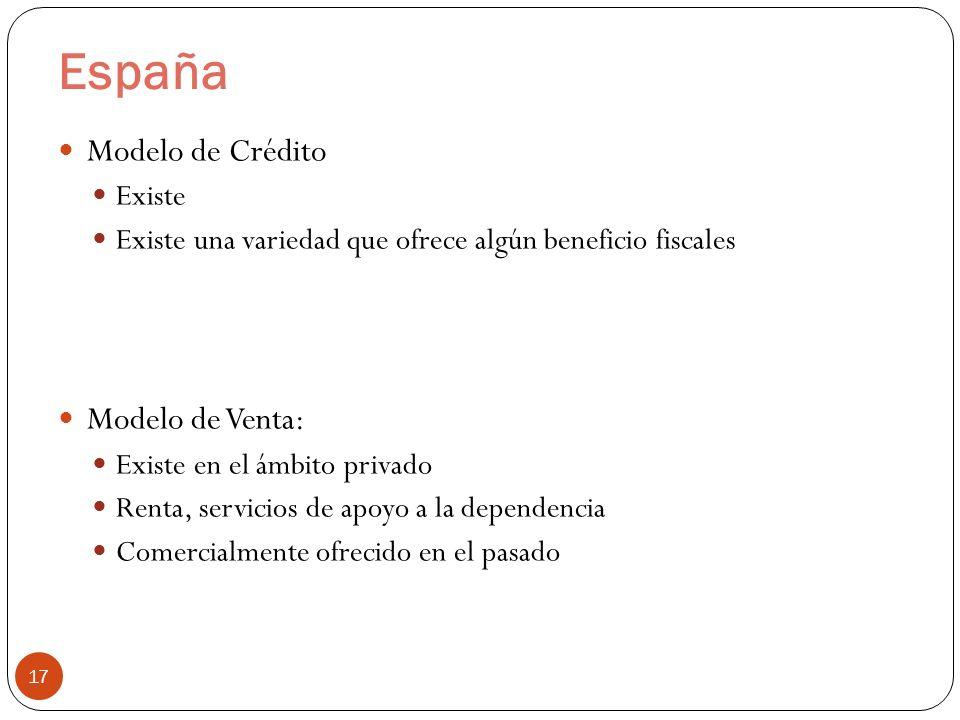 España 17 Modelo de Crédito Existe Existe una variedad que ofrece algún beneficio fiscales Modelo de Venta: Existe en el ámbito privado Renta, servicios de apoyo a la dependencia Comercialmente ofrecido en el pasado