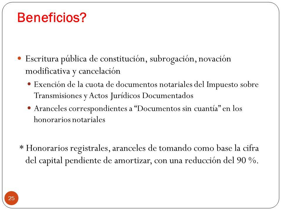 Beneficios? 25 Escritura pública de constitución, subrogación, novación modificativa y cancelación Exención de la cuota de documentos notariales del I