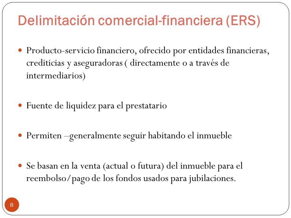 Delimitación comercial-financiera (ERS) 8 Producto-servicio financiero, ofrecido por entidades financieras, crediticias y aseguradoras ( directamente