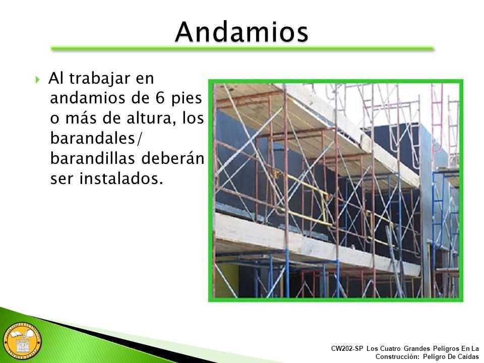 Los andamios utilizados sobre escalones deben estar construidos correctamente. CW202-SP Los Cuatro Grandes Peligros En La Construcción: Peligro De Caí