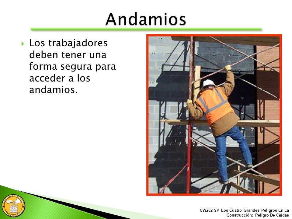 Nunca amontonar bloques, ladrillos o usar escaleras encima de los andamios para obtener más altura. CW202-SP Los Cuatro Grandes Peligros En La Constru