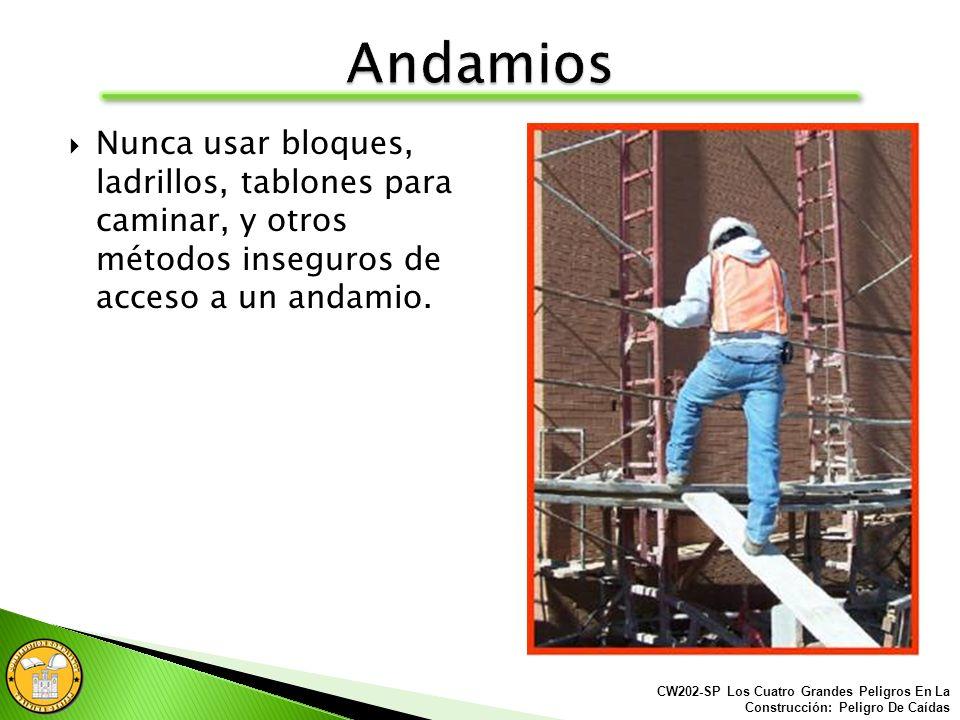 Los trabajadores deben tener una forma segura para acceder a los andamios. CW202-SP Los Cuatro Grandes Peligros En La Construcción: Peligro De Caídas