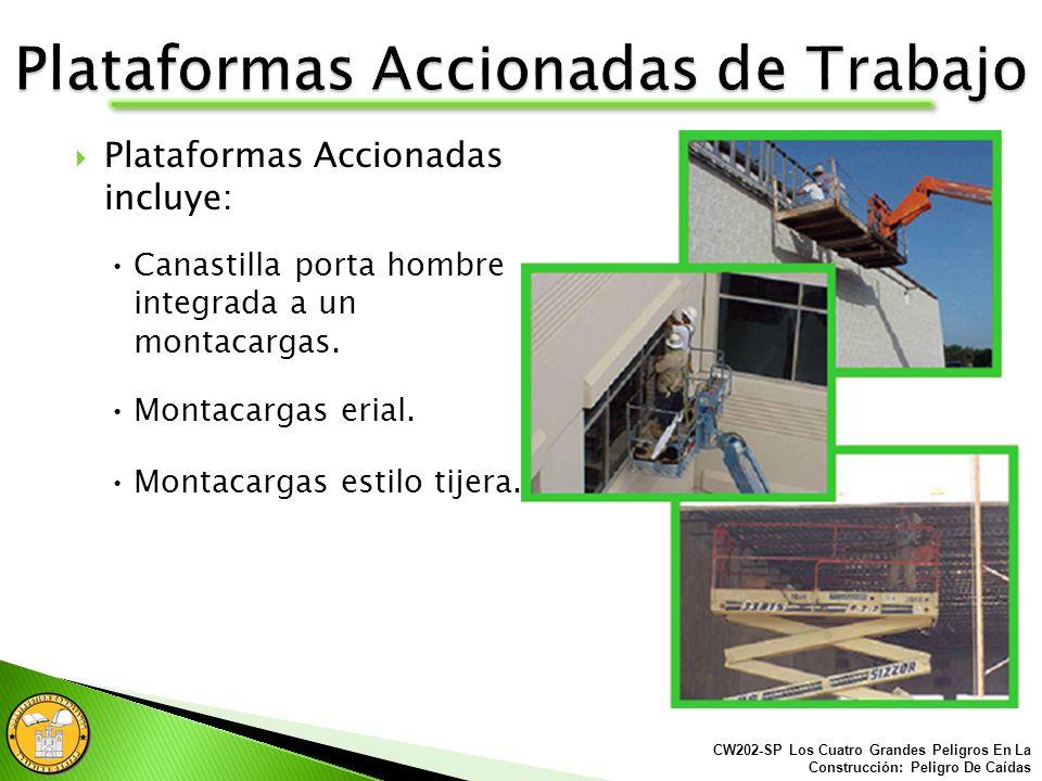 Utilizar solamente escaleras diseñadas para usarse con andamios. Las escaleras deben estar firmemente aseguradas a los andamios. CW202-SP Los Cuatro G