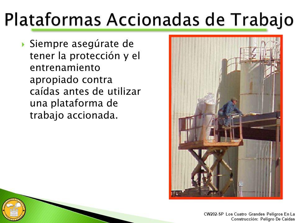 Plataformas Accionadas incluye: Canastilla porta hombre integrada a un montacargas. Montacargas erial. Montacargas estilo tijera. CW202-SP Los Cuatro