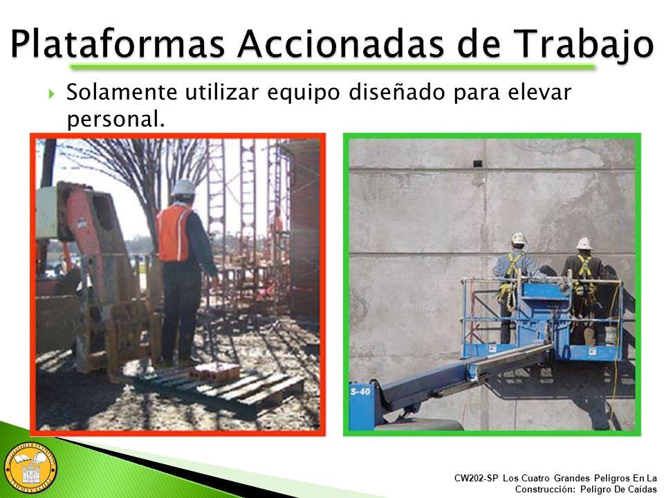 Siempre asegúrate de tener la protección y el entrenamiento apropiado contra caídas antes de utilizar una plataforma de trabajo accionada.