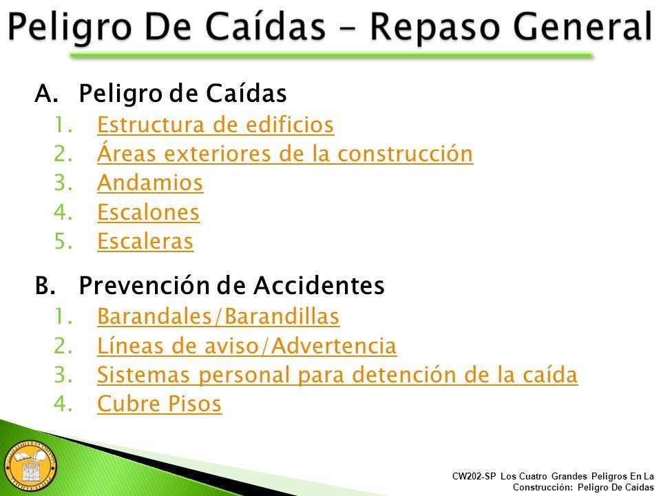 CW202-SP Los Cuatro Grandes Peligros En La Construcción: Peligro De Caídas Introducción Las siguientes presentaciones han sido desarrolladas en Españo