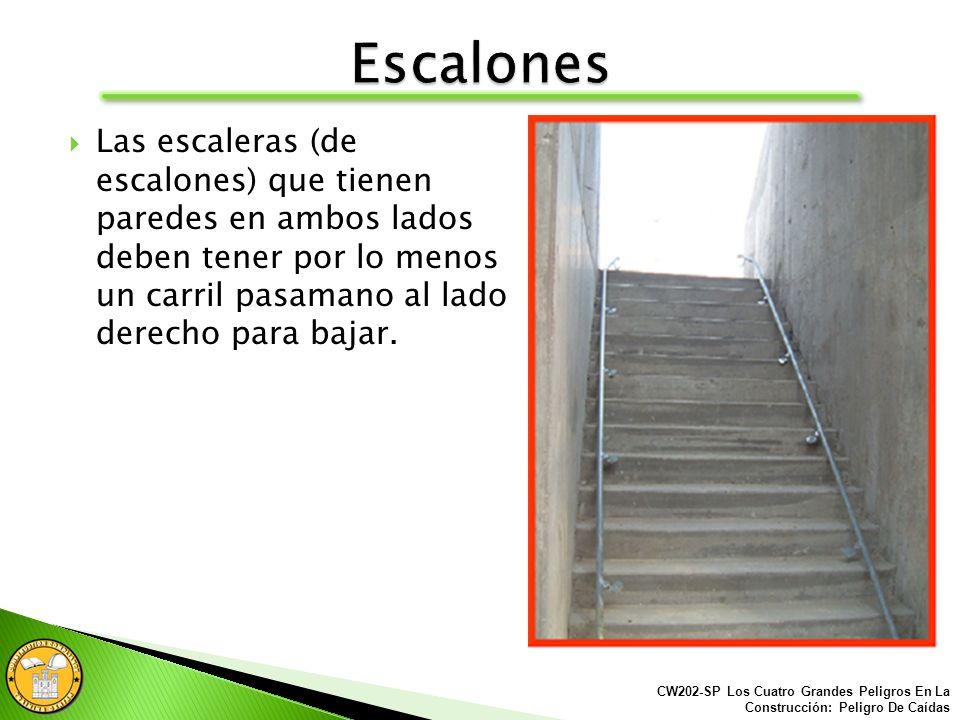 Las escaleras (de escalones) deben tener un carril pasamanos a lo largo de cada lado o borde desprotegido.