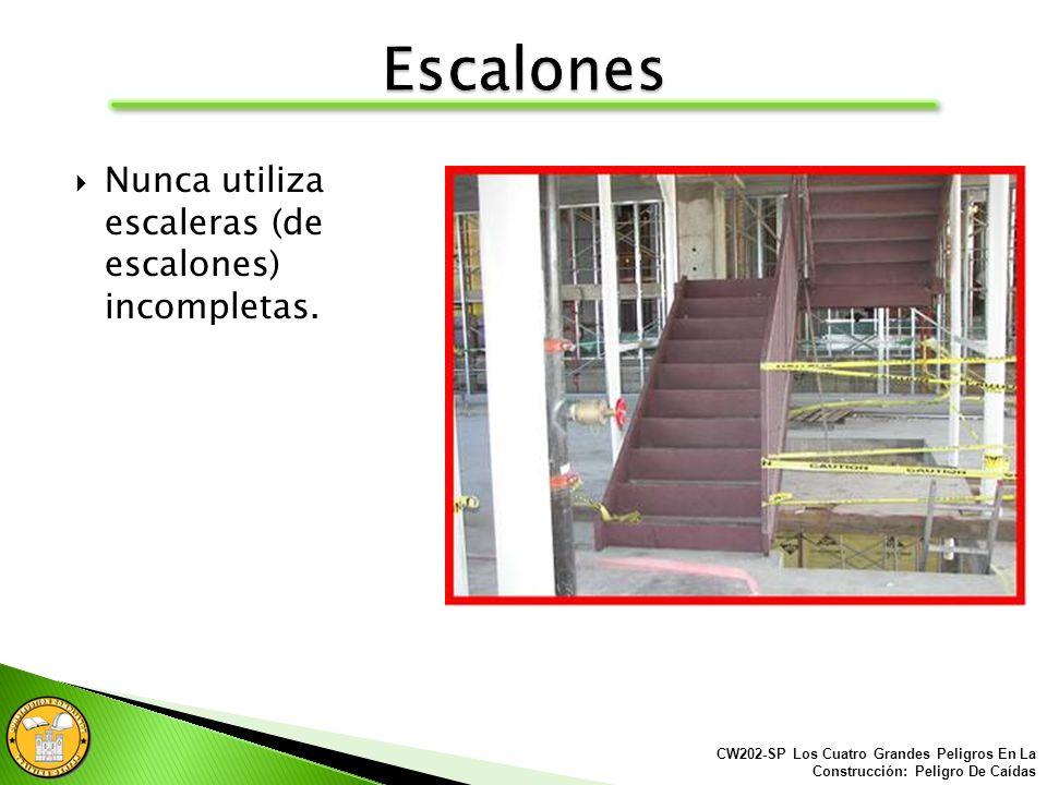 Las escaleras (de escalones) que tienen paredes en ambos lados deben tener por lo menos un carril pasamano al lado derecho para bajar. CW202-SP Los Cu