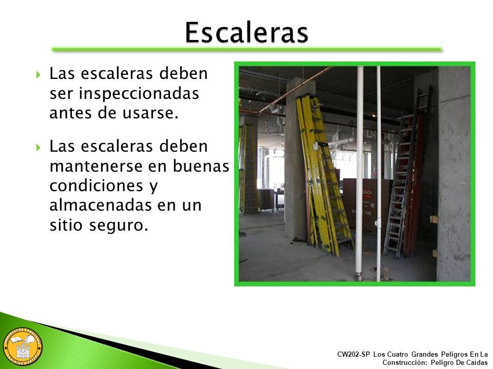 Nunca utiliza escaleras (de escalones) incompletas. CW202-SP Los Cuatro Grandes Peligros En La Construcción: Peligro De Caídas