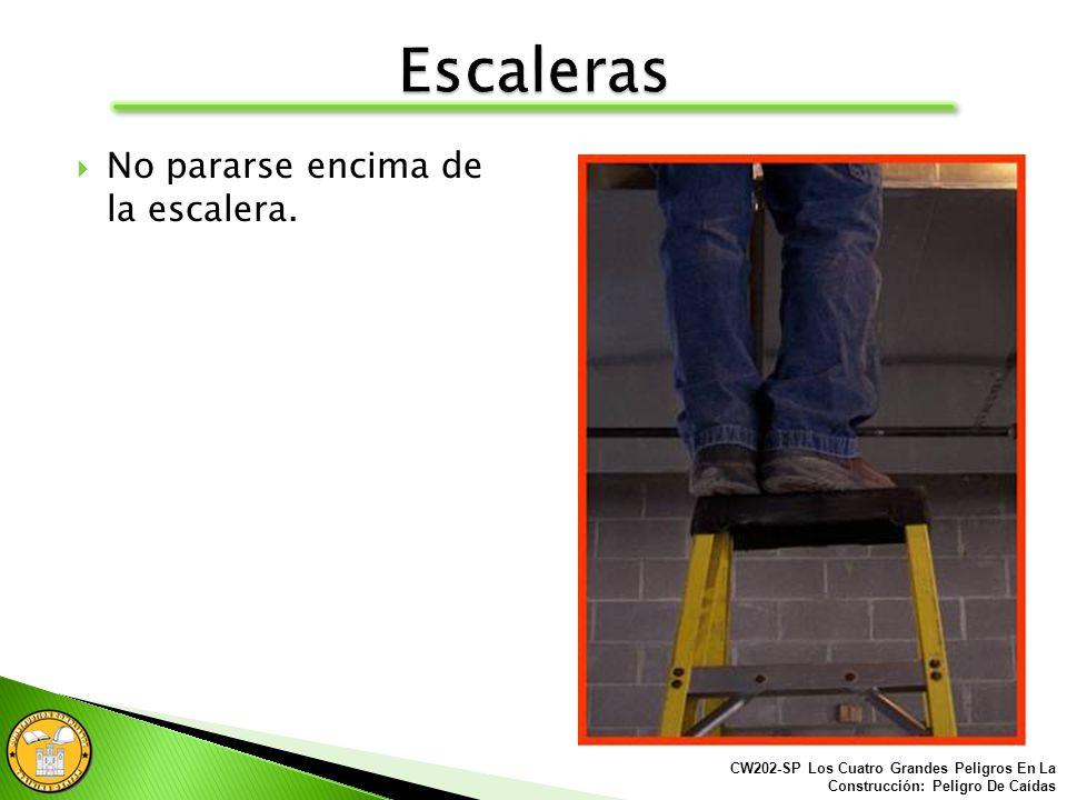 Las escaleras deben ser inspeccionadas antes de usarse. Las escaleras deben mantenerse en buenas condiciones y almacenadas en un sitio seguro. CW202-S
