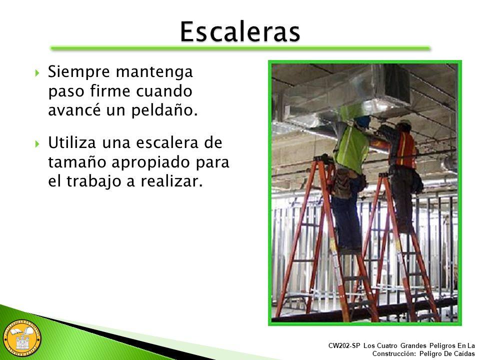 Leer las etiquetas que tienen las escaleras para garantizarse el uso apropiado. CW202-SP Los Cuatro Grandes Peligros En La Construcción: Peligro De Ca