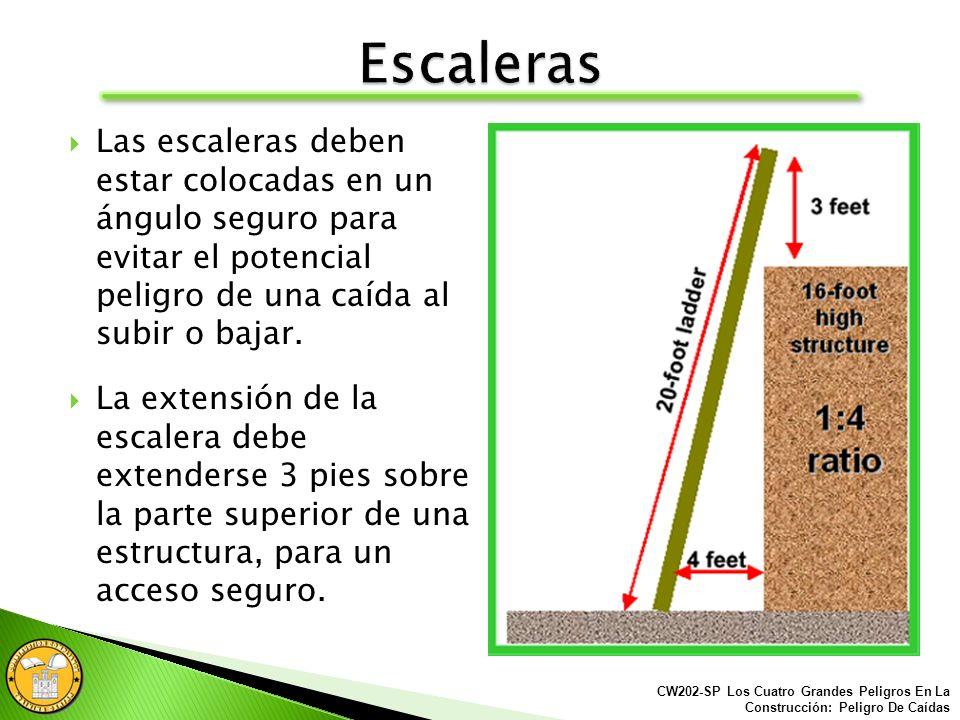Solamente utilizar las escaleras en superficies sólidas y estables para prevenir un movimiento accidental. CW202-SP Los Cuatro Grandes Peligros En La