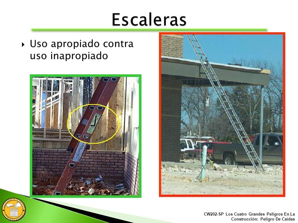 Cuando utilizamos una escalera de extensión para acceder a una área superior, los carriles laterales deben extenderse al menos 3 pies sobre dicha estr