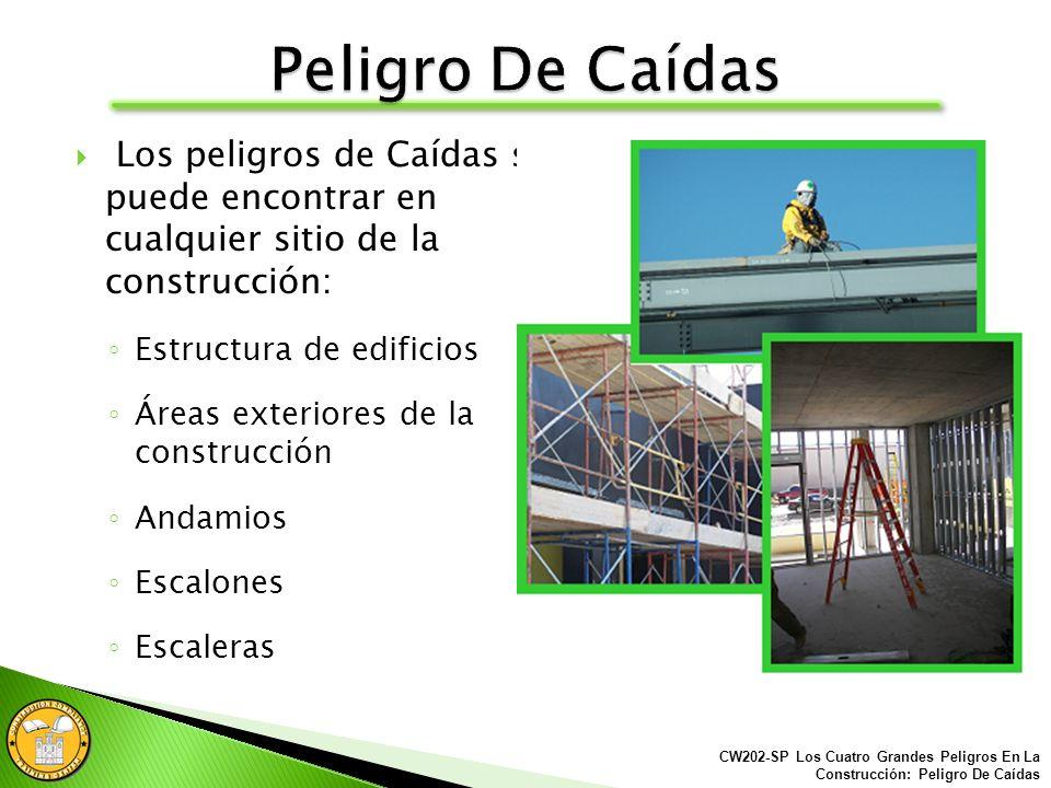 Los peligros de Caídas se puede encontrar en cualquier sitio de la construcción: Estructura de edificios Áreas exteriores de la construcción Andamios Escalones Escaleras CW202-SP Los Cuatro Grandes Peligros En La Construcción: Peligro De Caídas