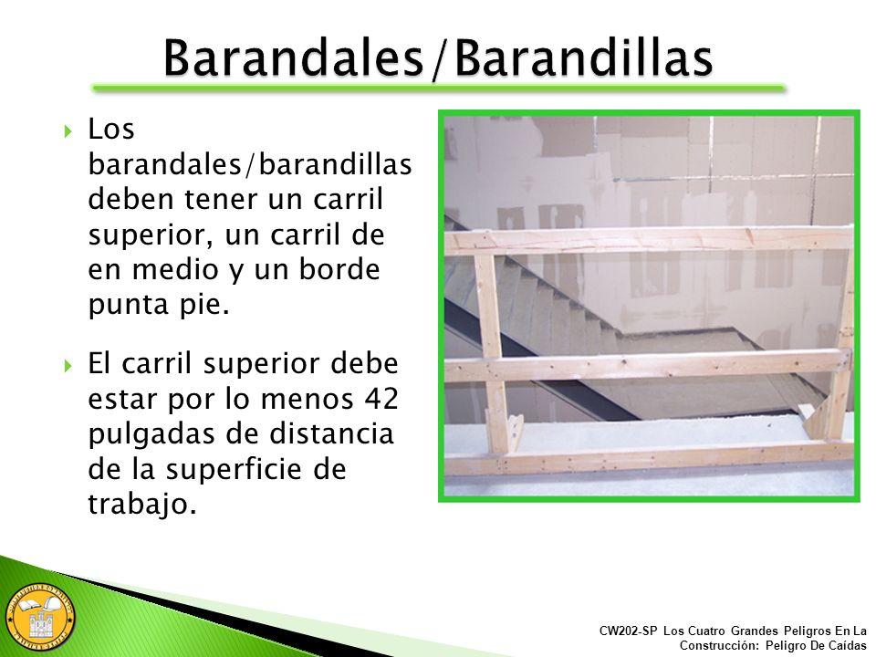 El trabajo de construcción realizado a 6 pies o más de altura requiere de protección contra caídas. Algunos métodos de protección contra caídas son: B