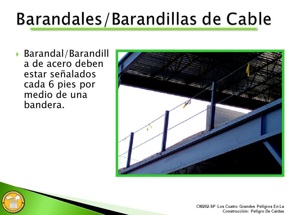 Los barandales/barandillas de cable deben cumplir las mismas reglas que los barandales de madera. El carril superior debe tener por lo menos 42 pulgad