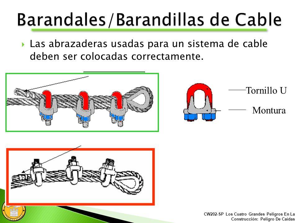 Barandal/Barandill a de acero deben estar señalados cada 6 pies por medio de una bandera. 6 6 CW202-SP Los Cuatro Grandes Peligros En La Construcción: