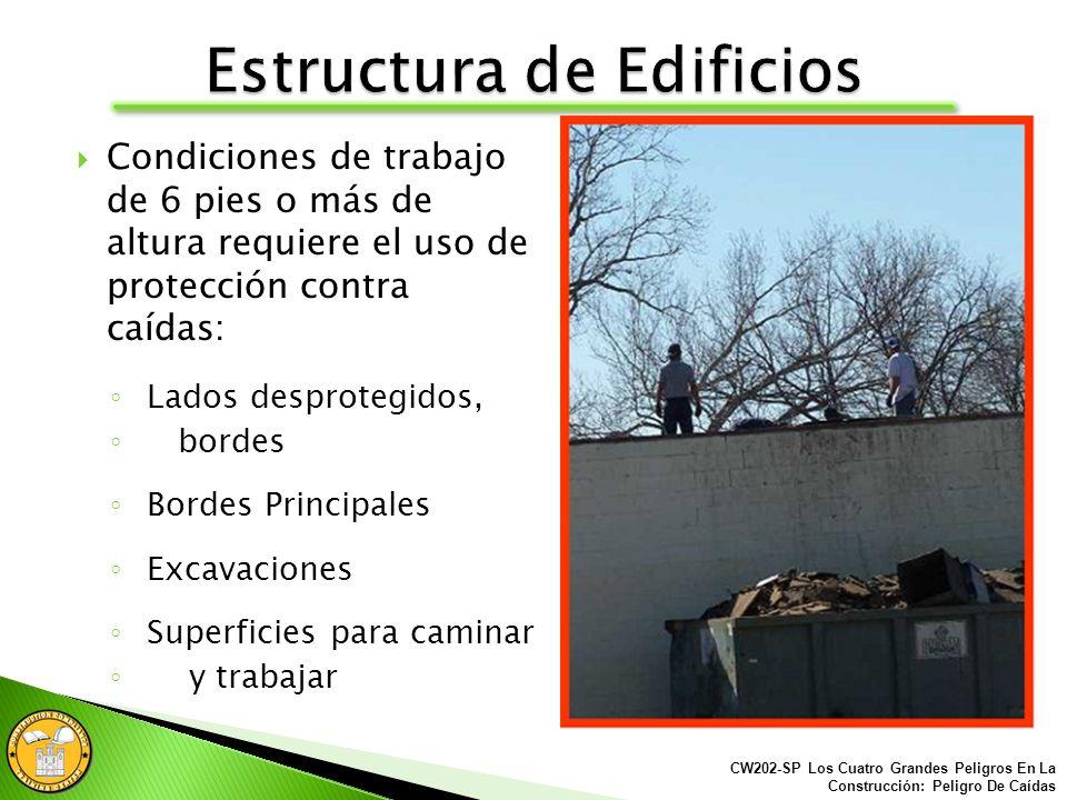 Los peligros de Caídas se puede encontrar en cualquier sitio de la construcción: Estructura de edificios Áreas exteriores de la construcción Andamios