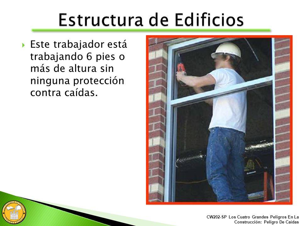 Este trabajador está trabajando 6 pies o más de altura sin ninguna protección contra caídas.
