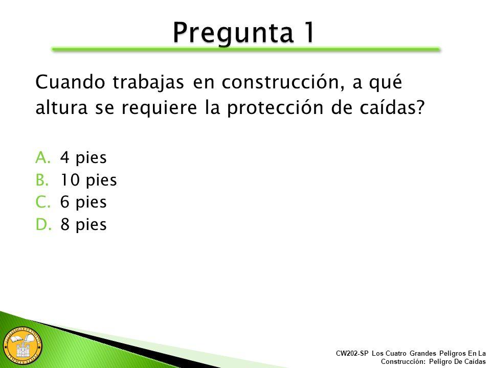 A continuación se le presentarán unas preguntas en prevención de accidentes, para evaluar su entendimiento de este material. CW202-SP Los Cuatro Grand