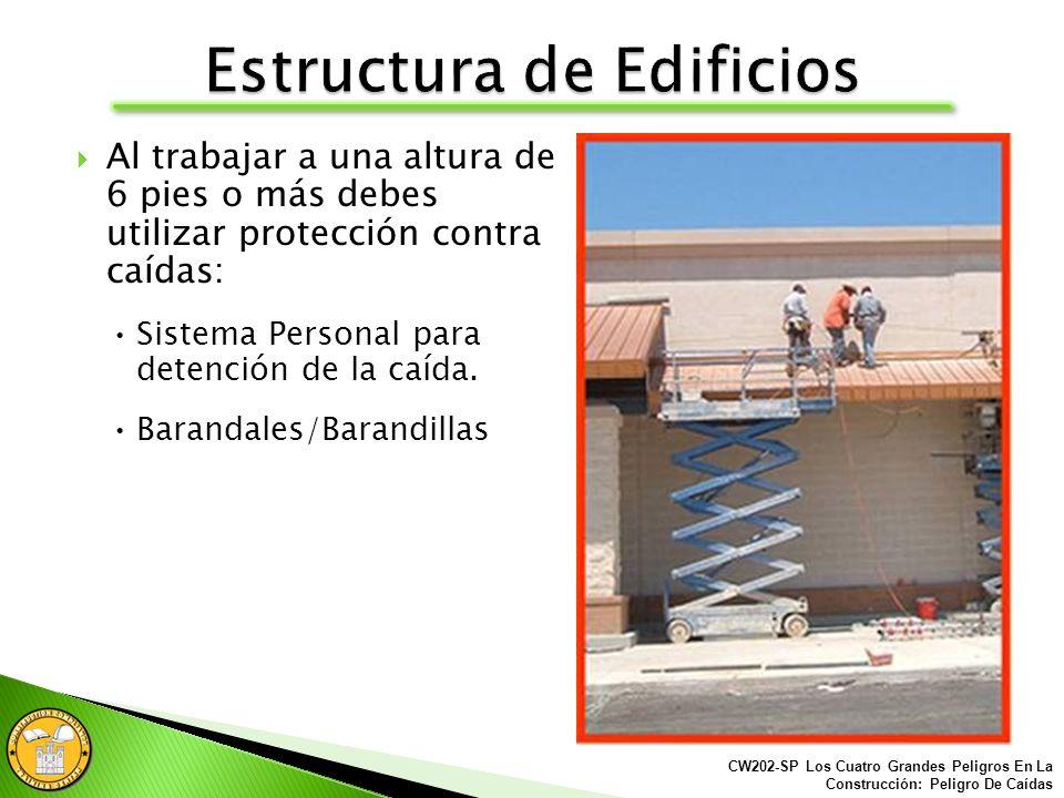 Este trabajador está trabajando 6 pies o más de altura sin ninguna protección contra caídas. CW202-SP Los Cuatro Grandes Peligros En La Construcción: