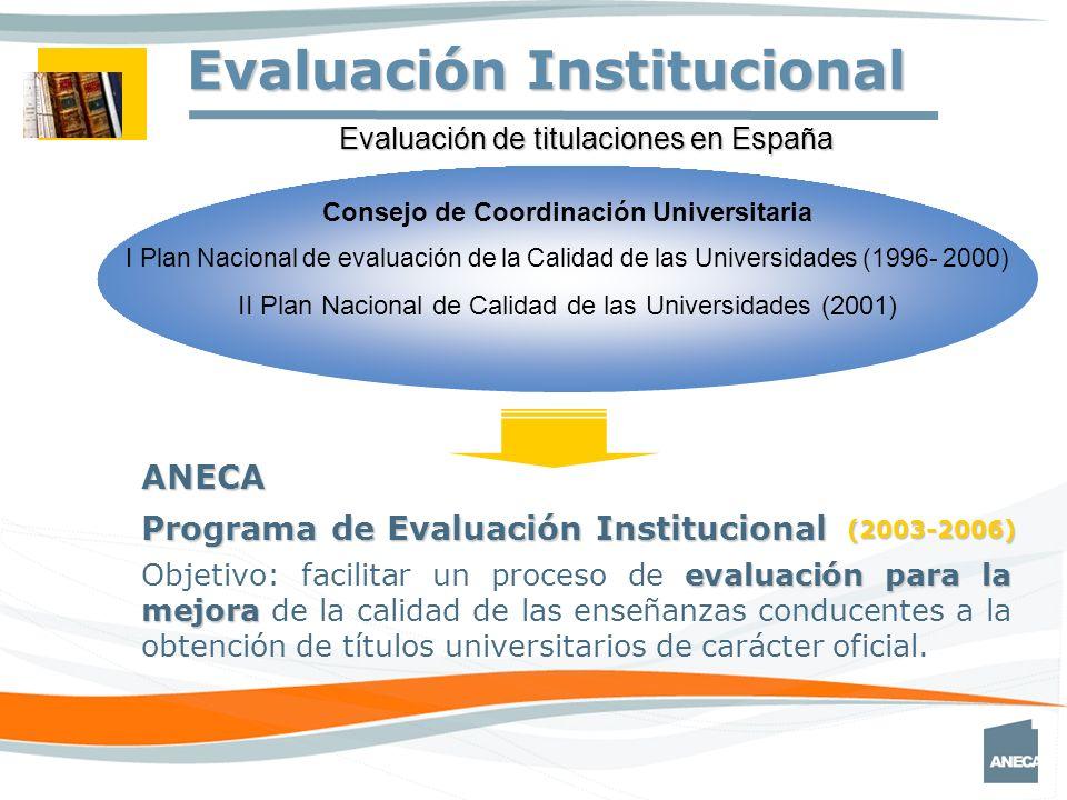 Consejo de Coordinación Universitaria I Plan Nacional de evaluación de la Calidad de las Universidades (1996- 2000) II Plan Nacional de Calidad de las Universidades (2001) ANECA Programa de Evaluación Institucional Evaluación de titulaciones en España (2003-2006) Evaluación Institucional evaluación para la mejora Objetivo: facilitar un proceso de evaluación para la mejora de la calidad de las enseñanzas conducentes a la obtención de títulos universitarios de carácter oficial.