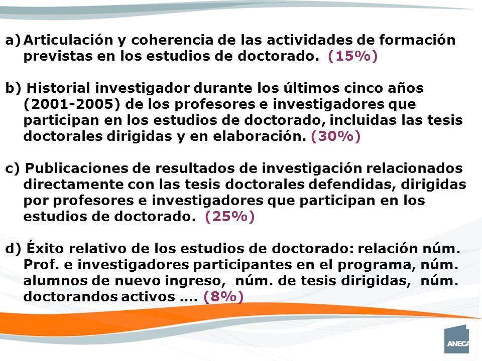 a)Articulación y coherencia de las actividades de formación previstas en los estudios de doctorado.