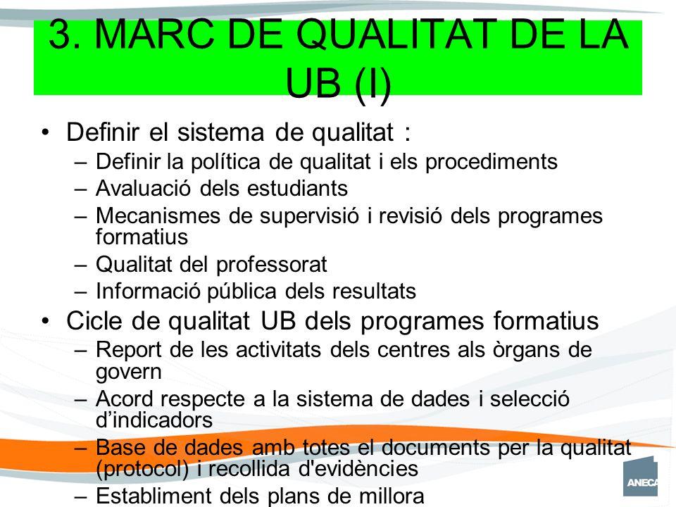 3. MARC DE QUALITAT DE LA UB (I) Definir el sistema de qualitat : –Definir la política de qualitat i els procediments –Avaluació dels estudiants –Meca
