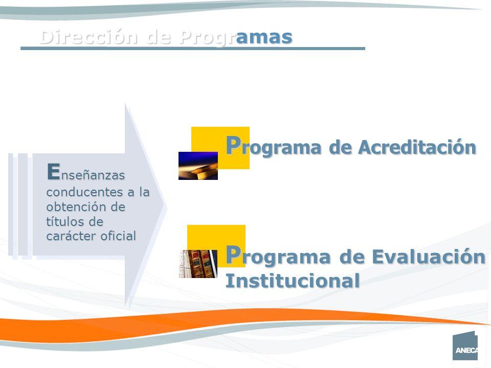 Dirección de Programas P rograma de Acreditación P rograma de Evaluación Institucional E nseñanzas conducentes a la obtención de títulos de carácter oficial
