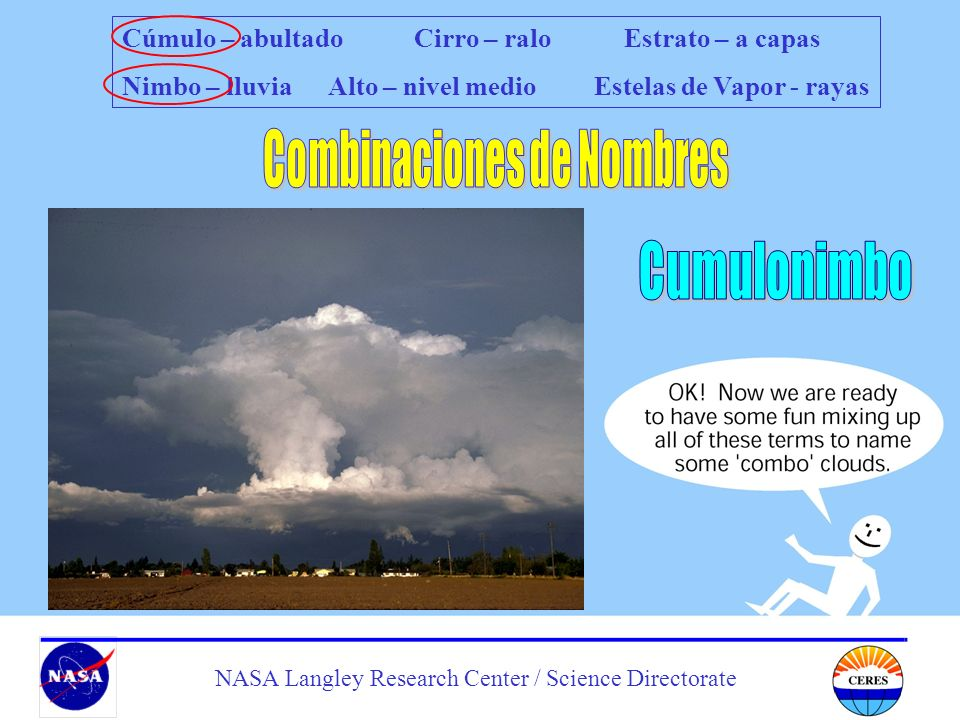Students Cloud Observations On-Line NASA Langley Research Center / Science Directorate Cúmulo – abultado Cirro – ralo Estrato – a capas Nimbo – lluvia