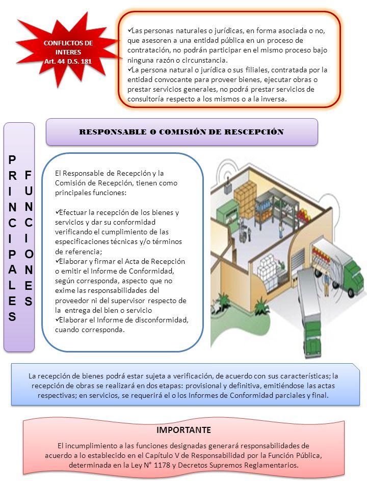 RESPONSABLE O COMISIÓN DE RESCEPCIÓN El Responsable de Recepción y la Comisión de Recepción, tienen como principales funciones: Efectuar la recepción