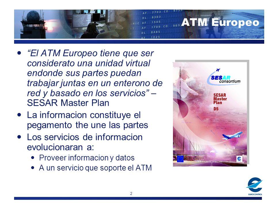 2 ATM Europeo El ATM Europeo tiene que ser considerato una unidad virtual endonde sus partes puedan trabajar juntas en un enterono de red y basado en los servicios – SESAR Master Plan La informacion constituye el pegamento the une las partes Los servicios de informacion evolucionaran a: Proveer informacion y datos A un servicio que soporte el ATM