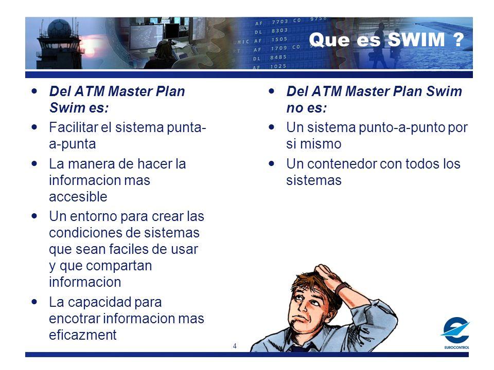 4 Del ATM Master Plan Swim es: Facilitar el sistema punta- a-punta La manera de hacer la informacion mas accesible Un entorno para crear las condicion