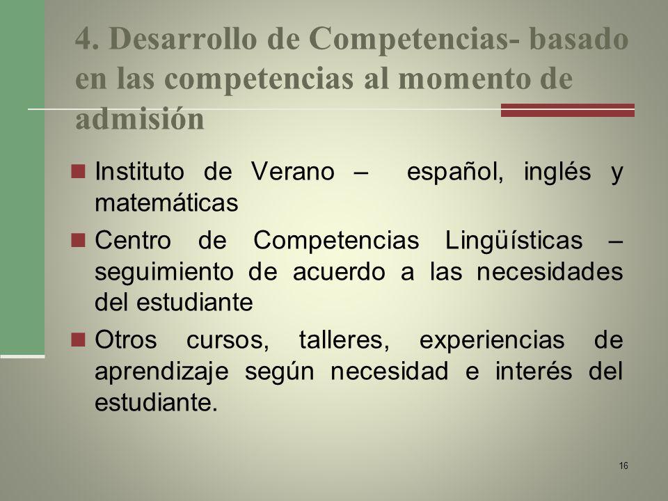 4. Desarrollo de Competencias- basado en las competencias al momento de admisión Instituto de Verano – español, inglés y matemáticas Centro de Compete