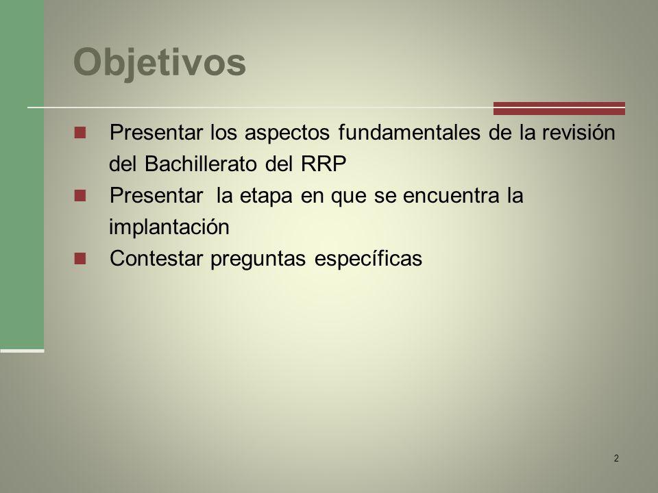 Objetivos Presentar los aspectos fundamentales de la revisión del Bachillerato del RRP Presentar la etapa en que se encuentra la implantación Contesta