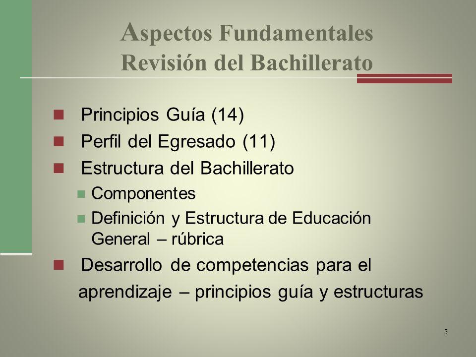 A spectos Fundamentales Revisión del Bachillerato Principios Guía (14) Perfil del Egresado (11) Estructura del Bachillerato Componentes Definición y E