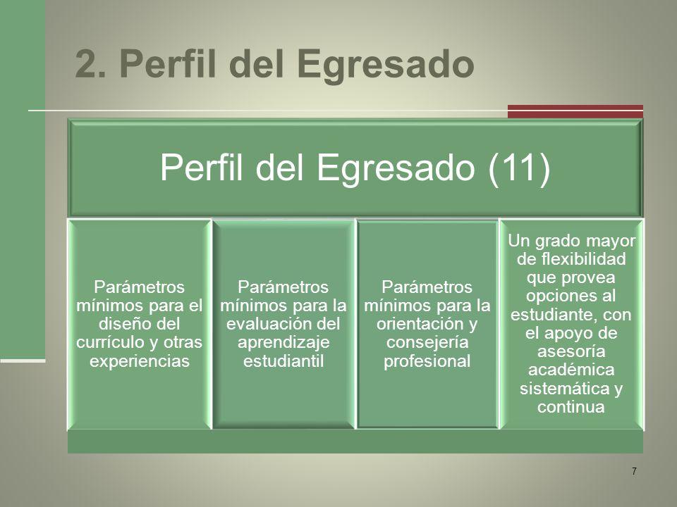 2. Perfil del Egresado Perfil del Egresado (11) Parámetros mínimos para el diseño del currículo y otras experiencias Parámetros mínimos para la evalua
