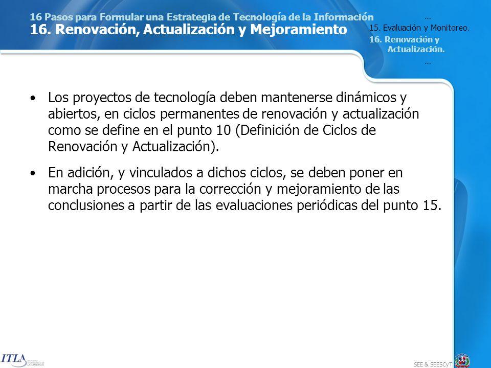SEE & SEESCyT 16 Pasos para Formular una Estrategia de Tecnología de la Información 16.
