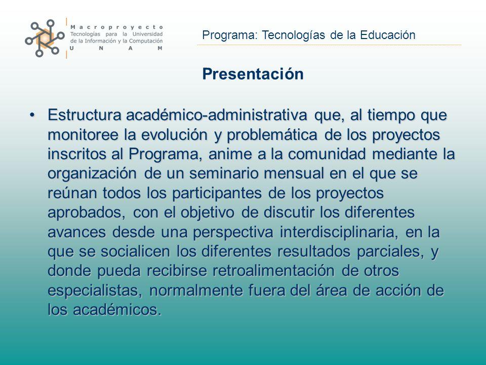 Programa: Tecnologías de la Educación Presentación Estructura académico-administrativa que, al tiempo que monitoree la evolución y problemática de los