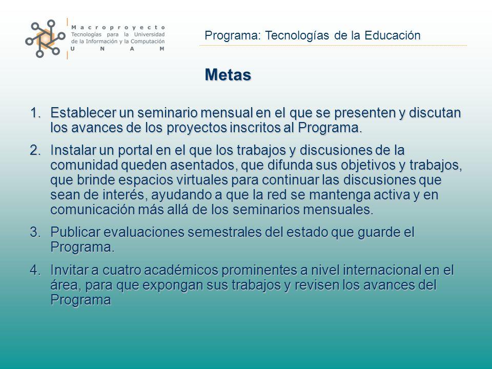 Programa: Tecnologías de la Educación Metas 1.Establecer un seminario mensual en el que se presenten y discutan los avances de los proyectos inscritos