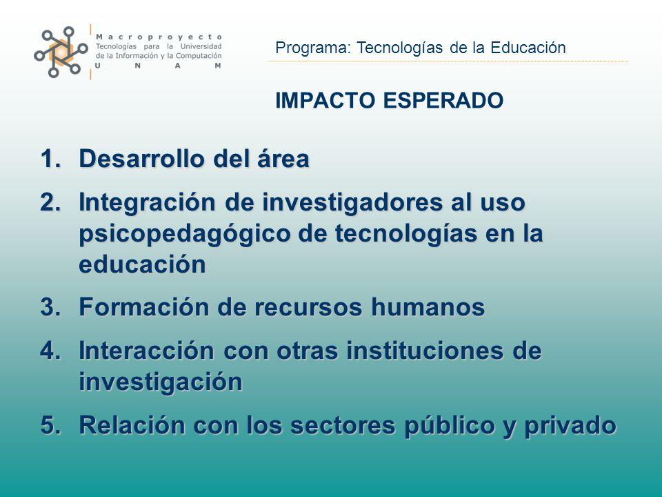 Programa: Tecnologías de la Educación IMPACTO ESPERADO 1.Desarrollo del área 2.Integración de investigadores al uso psicopedagógico de tecnologías en la educación 3.Formación de recursos humanos 4.Interacción con otras instituciones de investigación 5.Relación con los sectores público y privado