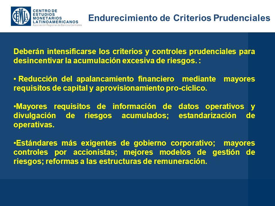 Deberán intensificarse los criterios y controles prudenciales para desincentivar la acumulación excesiva de riesgos.