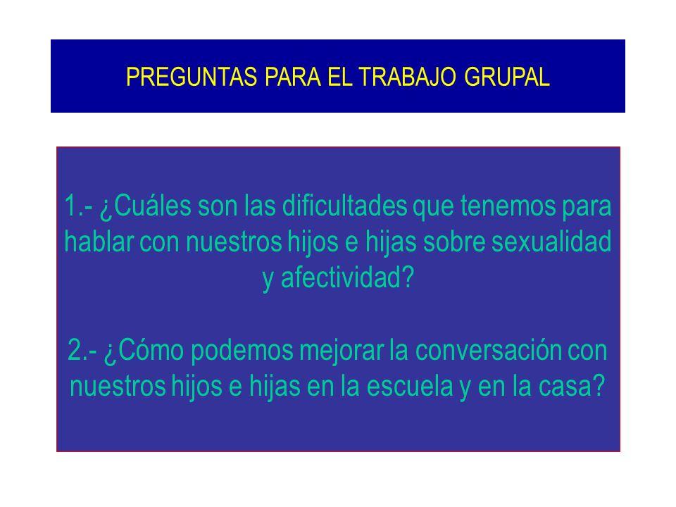 1.- ¿Cuáles son las dificultades que tenemos para hablar con nuestros hijos e hijas sobre sexualidad y afectividad? 2.- ¿Cómo podemos mejorar la conve