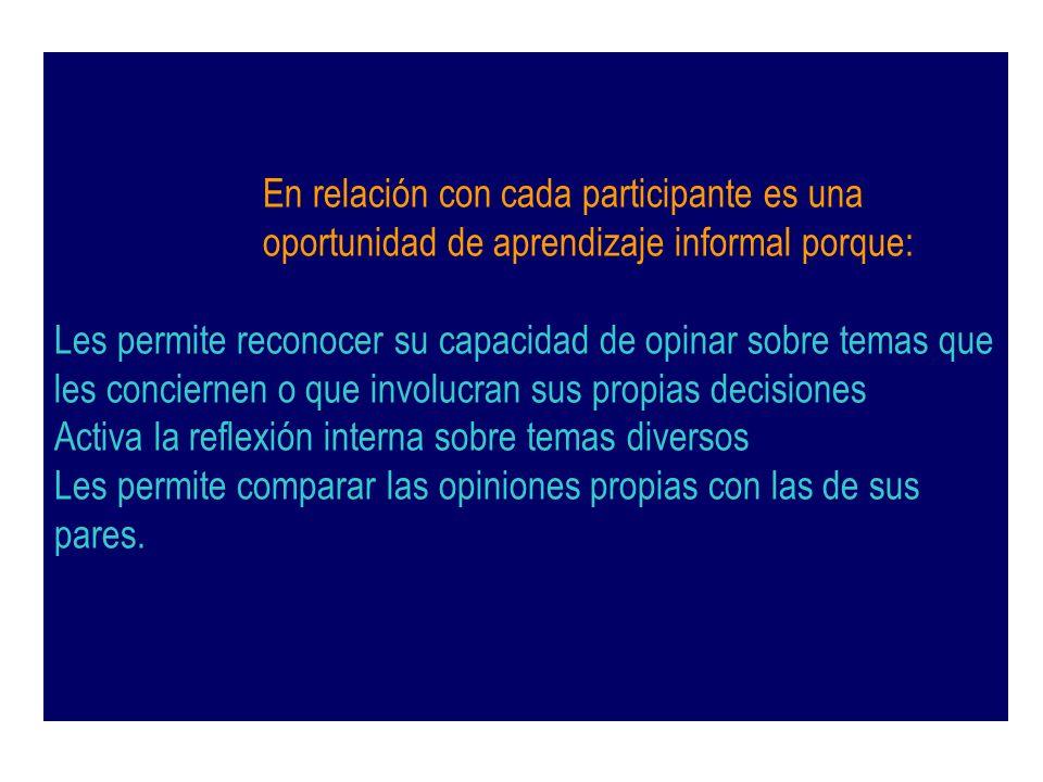 En relación con cada participante es una oportunidad de aprendizaje informal porque: Les permite reconocer su capacidad de opinar sobre temas que les
