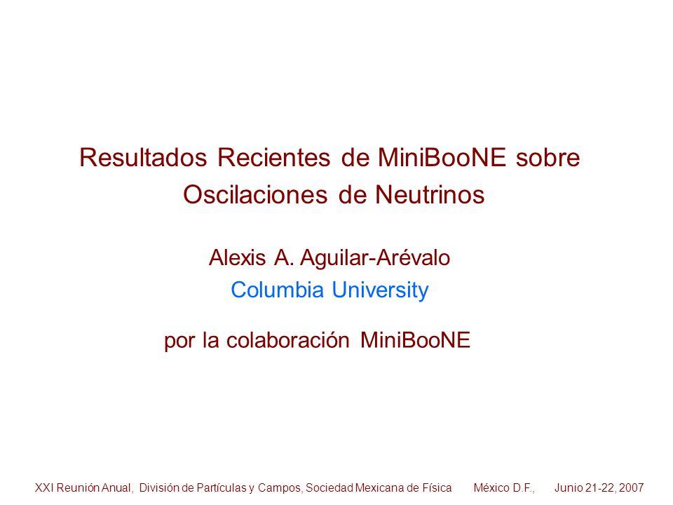 Resultados Recientes de MiniBooNE sobre Oscilaciones de Neutrinos Alexis A. Aguilar-Arévalo Columbia University por la colaboración MiniBooNE XXI Reun