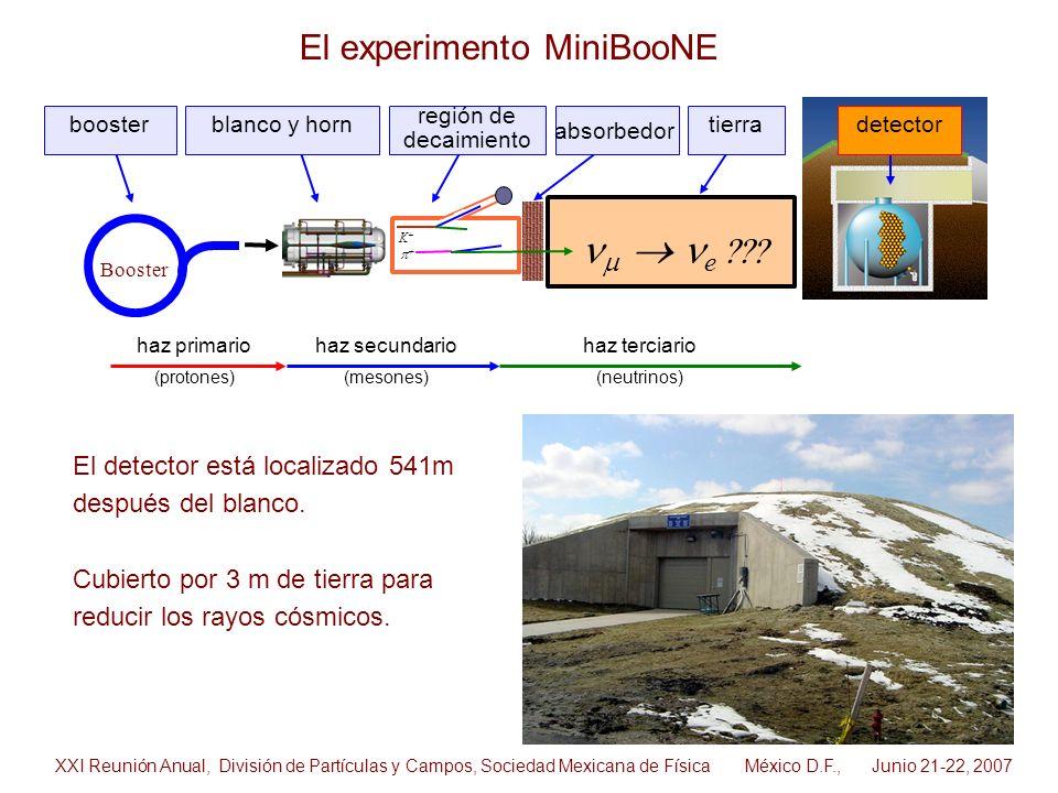 El detector está localizado 541m después del blanco. Cubierto por 3 m de tierra para reducir los rayos cósmicos. Booster K+K+ blanco y horndetectortie
