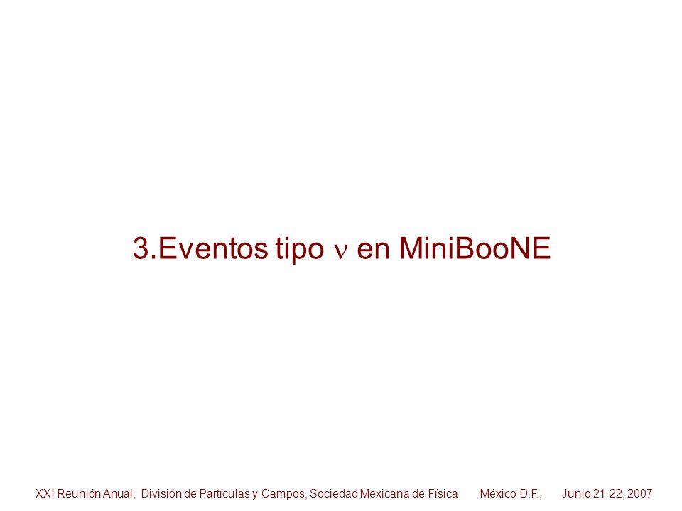 3.Eventos tipo en MiniBooNE XXI Reunión Anual, División de Partículas y Campos, Sociedad Mexicana de Física México D.F., Junio 21-22, 2007